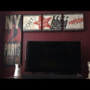 Other - 3 piece stretched canvas art film cinema popcorn